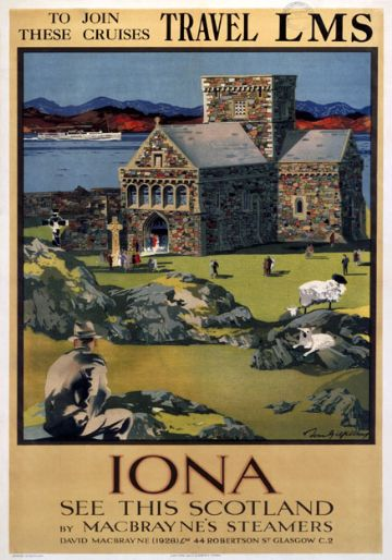 Iona, Inner Hebrides. LMS Vintage Travel Poster by Tom Gilfillan. 1923-1947